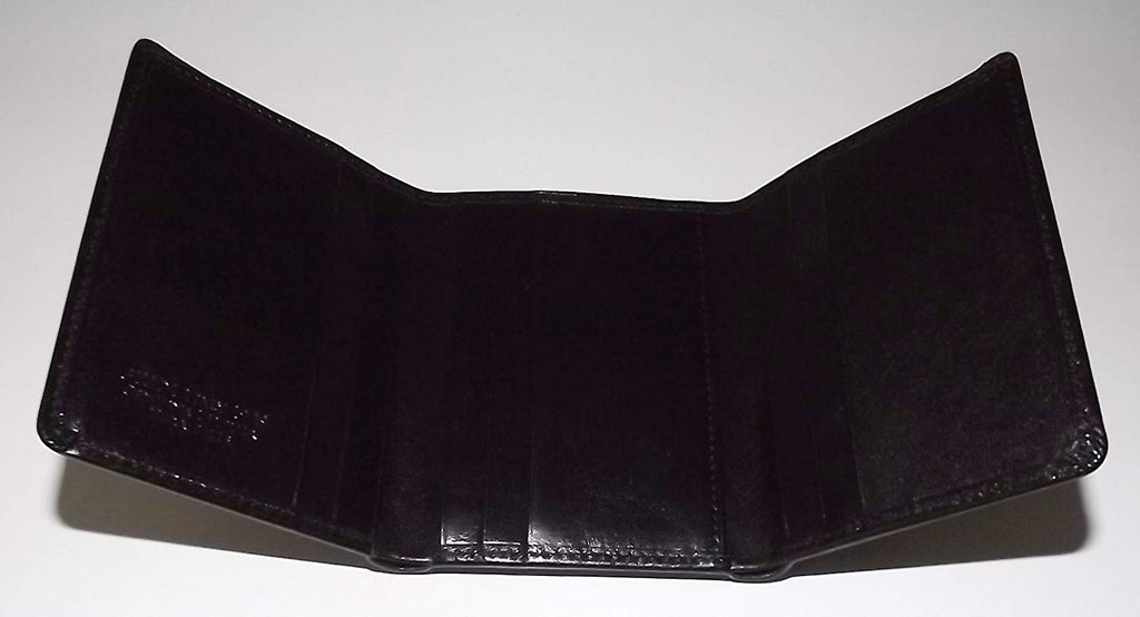 Giudi Italian Leather Trifold Wallet Black
