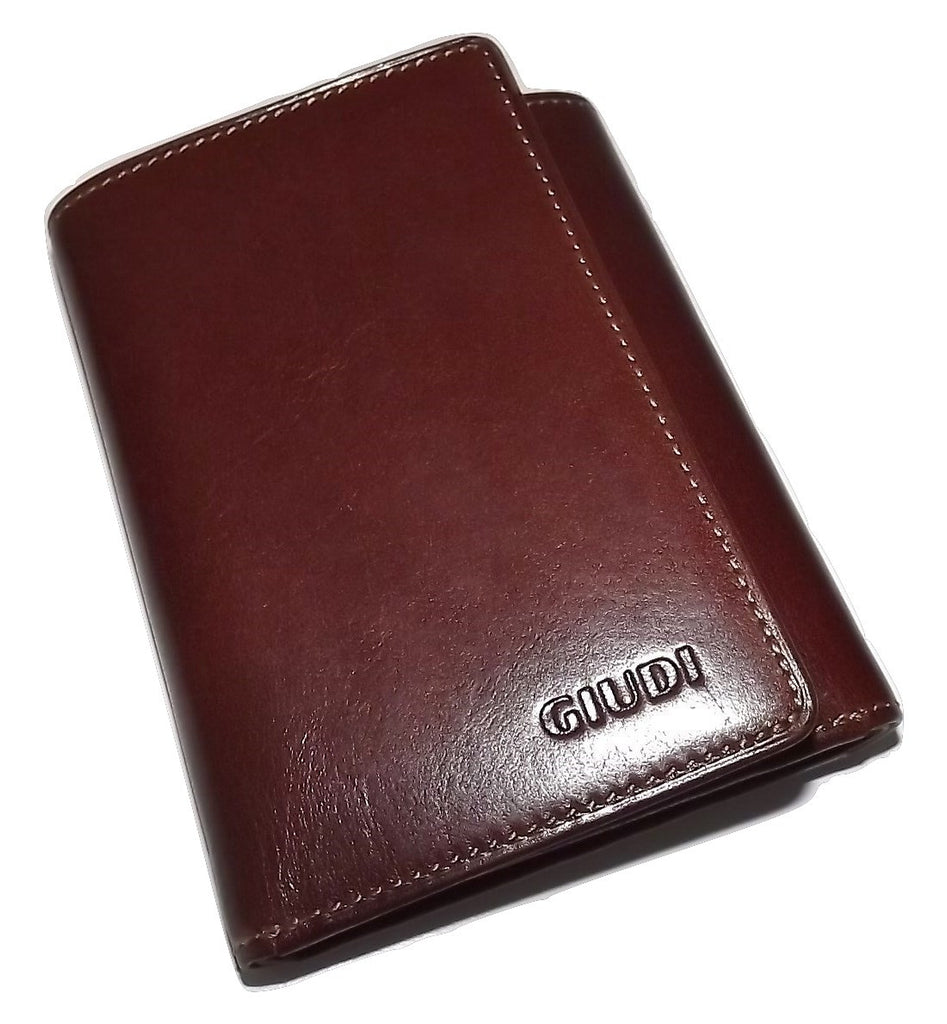 Giudi Italian Leather Trifold Wallet Burgundy