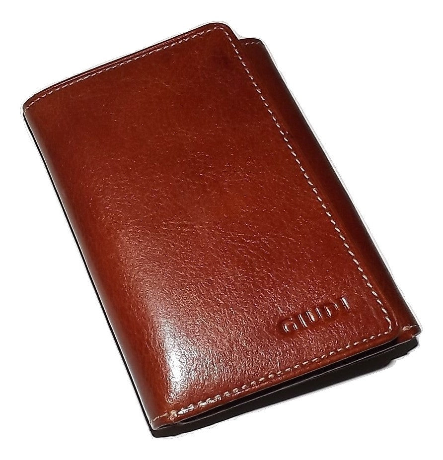 Giudi Italian Leather Trifold Wallet Cognac
