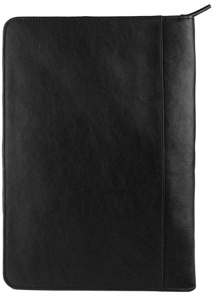 Hidesign Leather Zip File Folder Padfolio Black