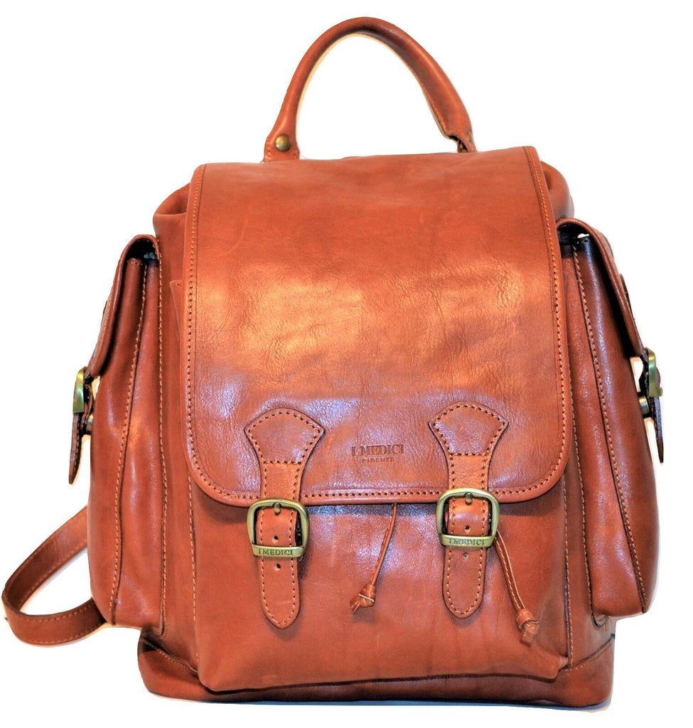 I Medici Italian Leather Backpack Front Flap Backpack