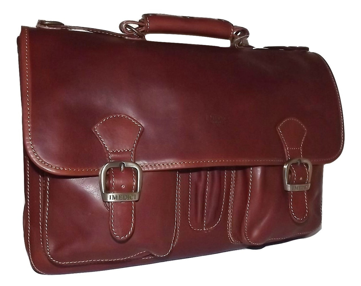 I Medici of Florence Italian Leather Double Gusset Brief Bag