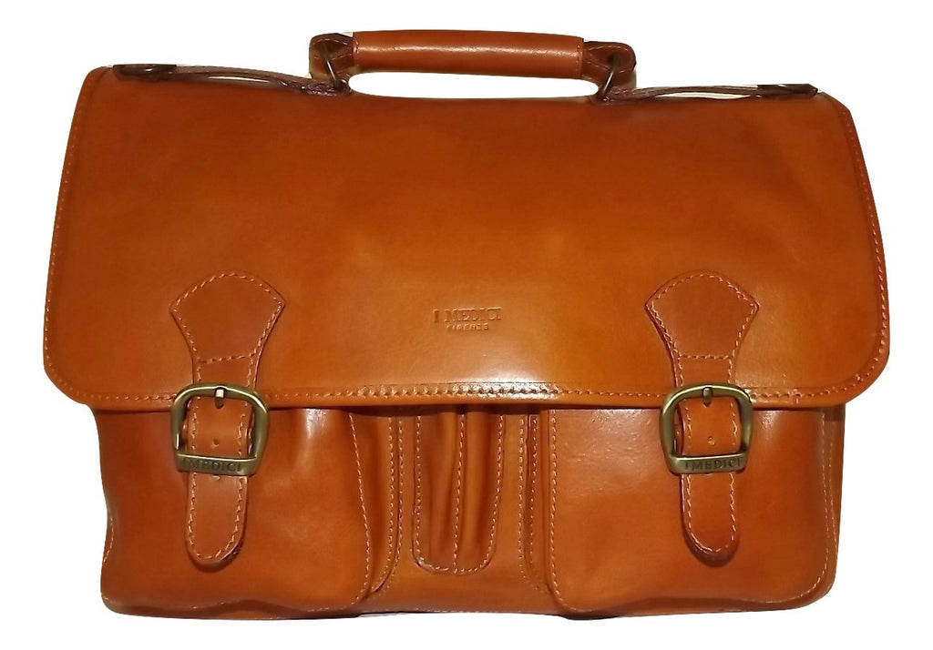 I Medici Italian Leather Double Gusset Brief Bag Cognac