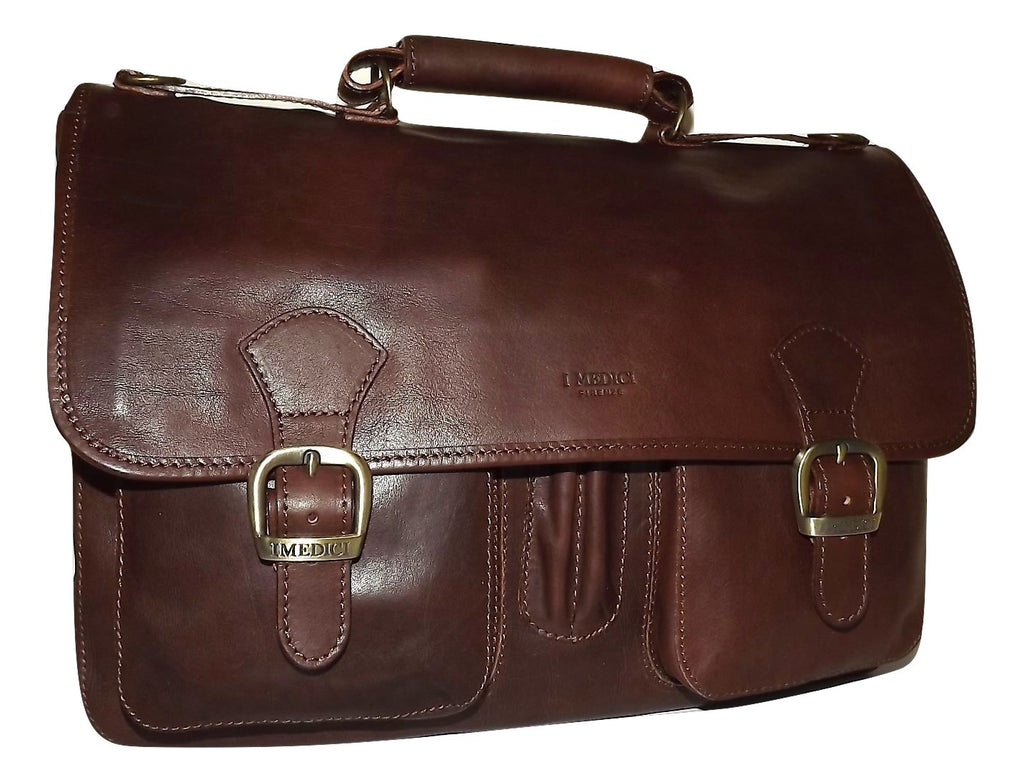 I Medici Italian Leather Double Gusset Brief Bag Dark Brown