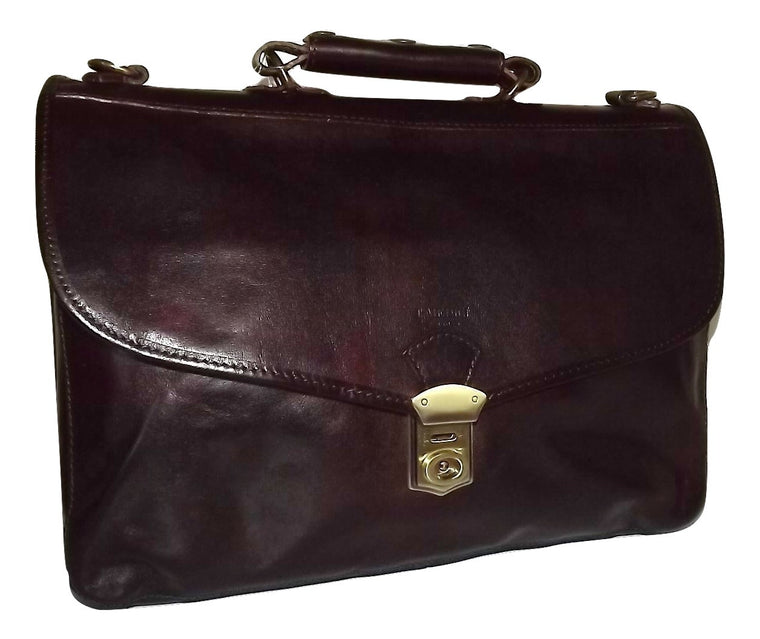 I Medici of Florence Italian Leather Front Flap Triple Gusset Briefcase