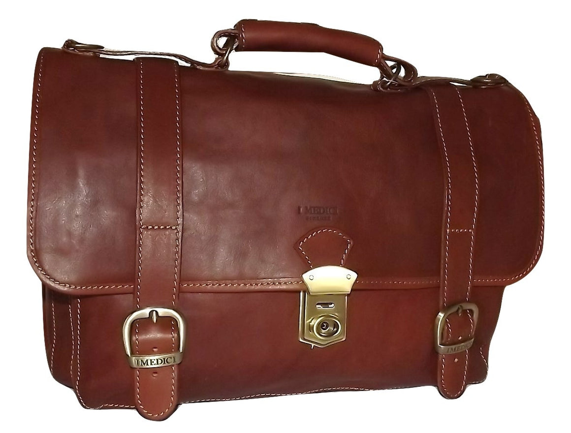 I Medici of Florence Italian Leather Double Gusset Backpack Brief Bag Brown