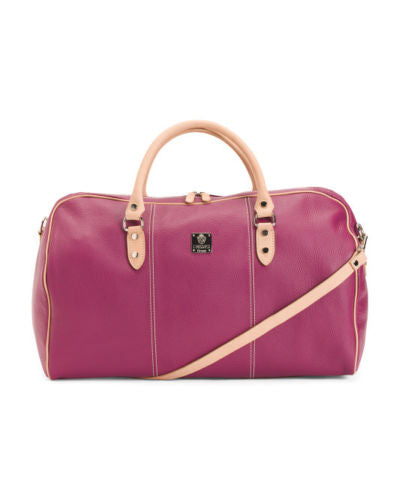 "I Medici Leather 21"" Carry-on Duffel Bag Magenta"
