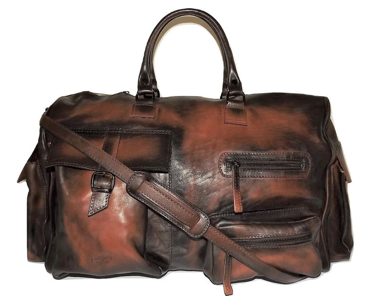"I Medici of Florence Vintage Italian Leather 22"" Duffel Bag Antique Cognac"