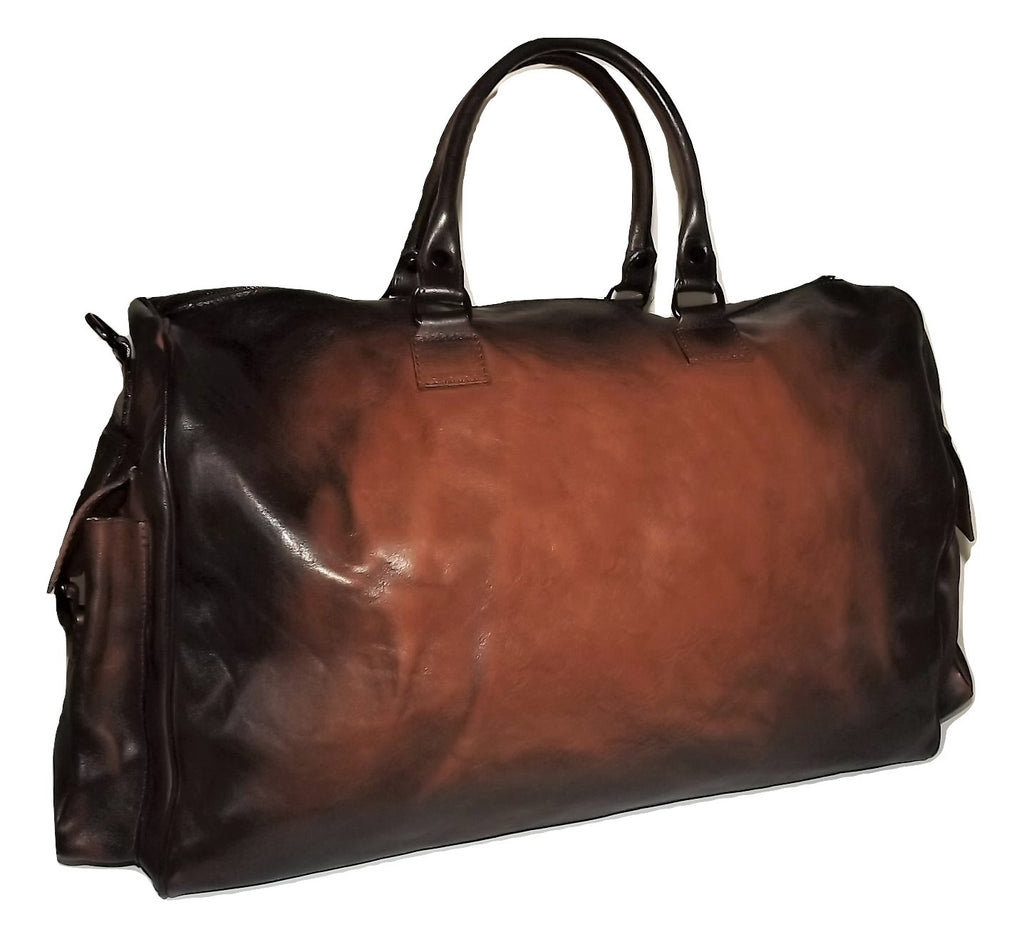 "I Medici of Florence Vintage Italian Leather 22"" Duffel Bag Cognac"