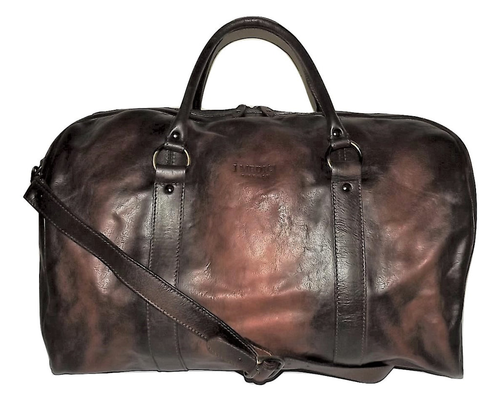 I Medici Vintage Leather Duffel Bag with Laptop Pocket Cognac