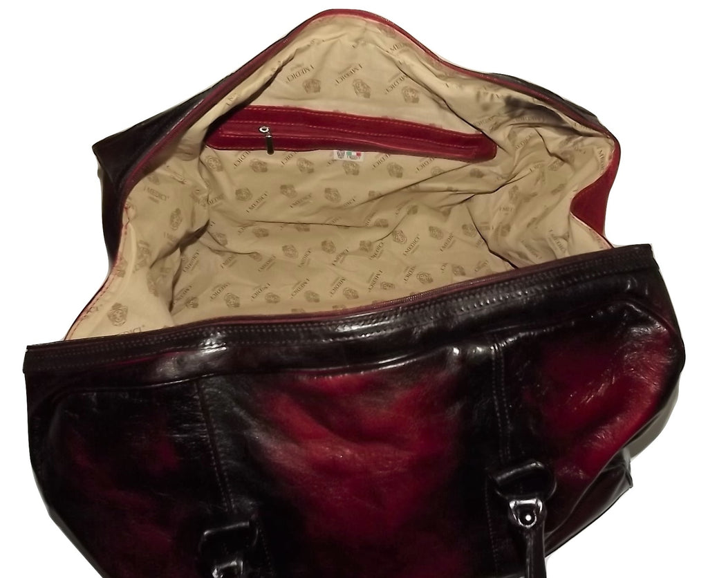 I Medici Vintage Leather Duffel Bag with Laptop Pocket Merlot