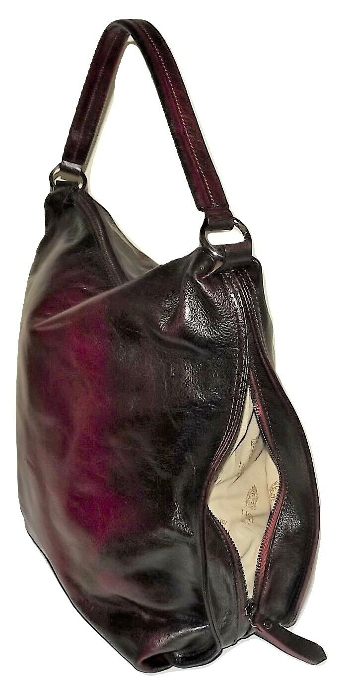 i MEDICI OF FLORENCE VINTAGE ITALIAN LEATHER HOBO SHOULDER BAG ANTIQUE COGNAC