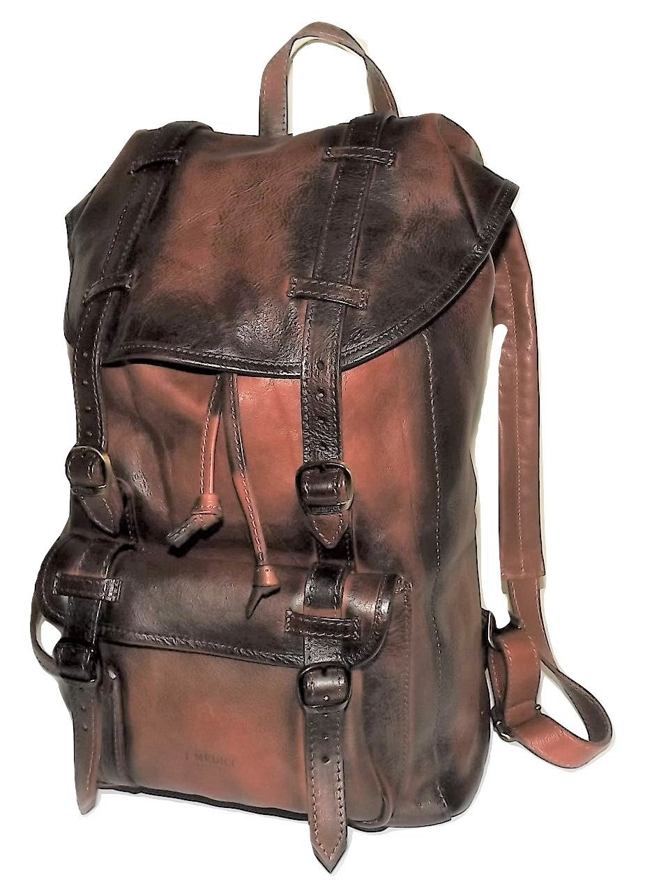 I Medici Vintage Leather Laptop Backpack Antique Cognac