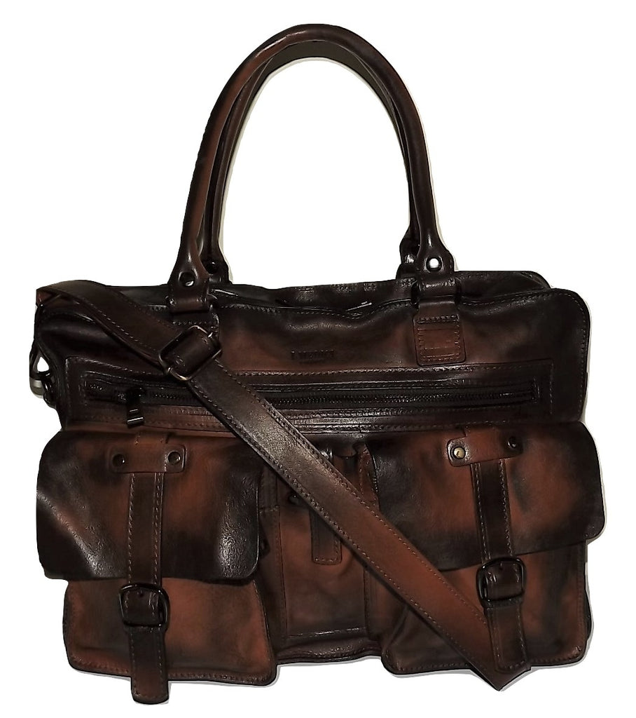 I Medici of Florence Vintage Italian Leather Laptop Briefcase Antique Cognac
