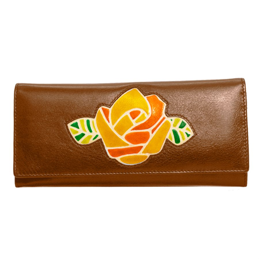 Italia Leather Slim RFID Protected Clutch Wallet Rose Toffee