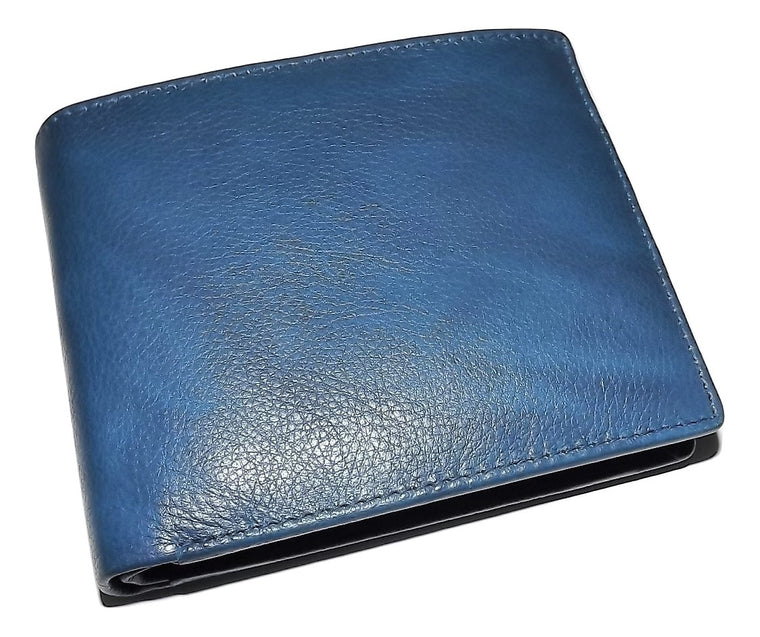 Italia Leather Passcase Wallet with Change Pocket Blue