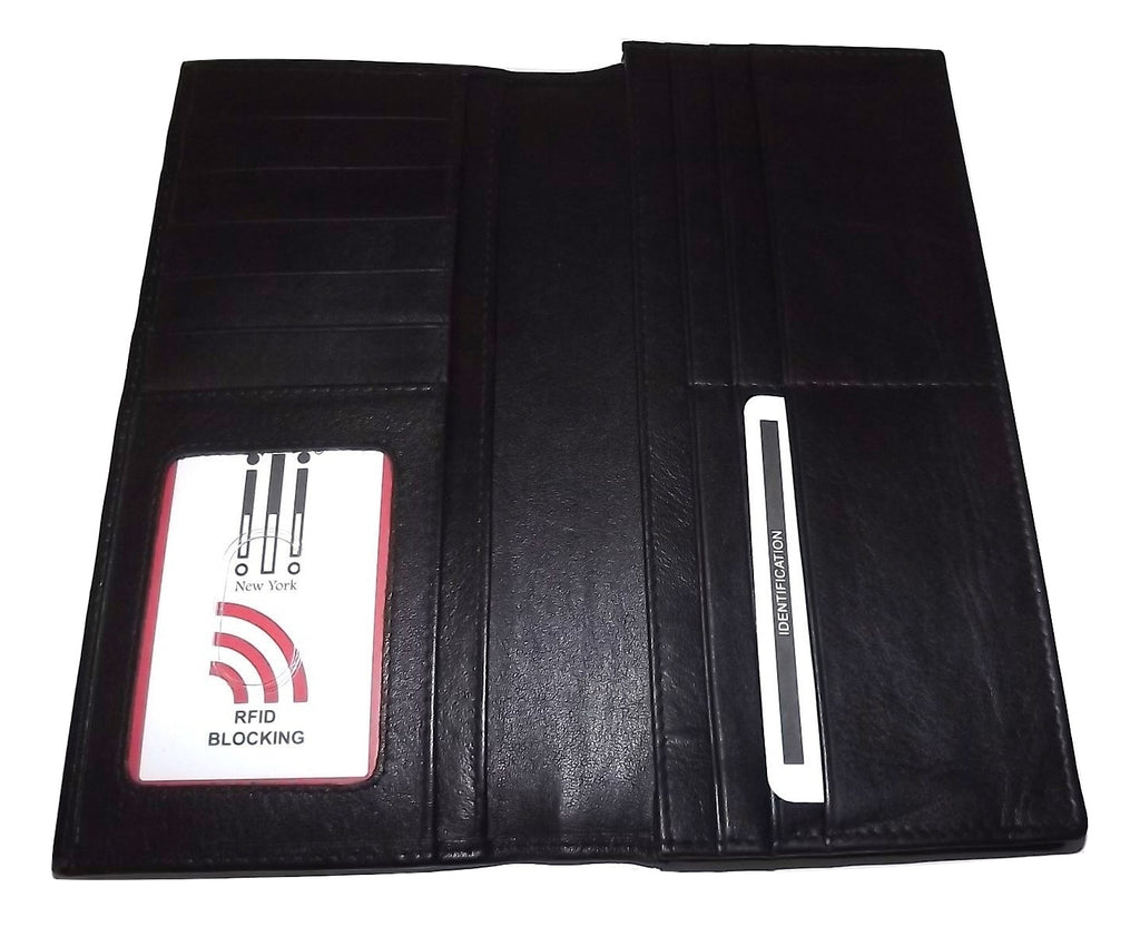 Italia Leather Breast Pocket Wallet Black
