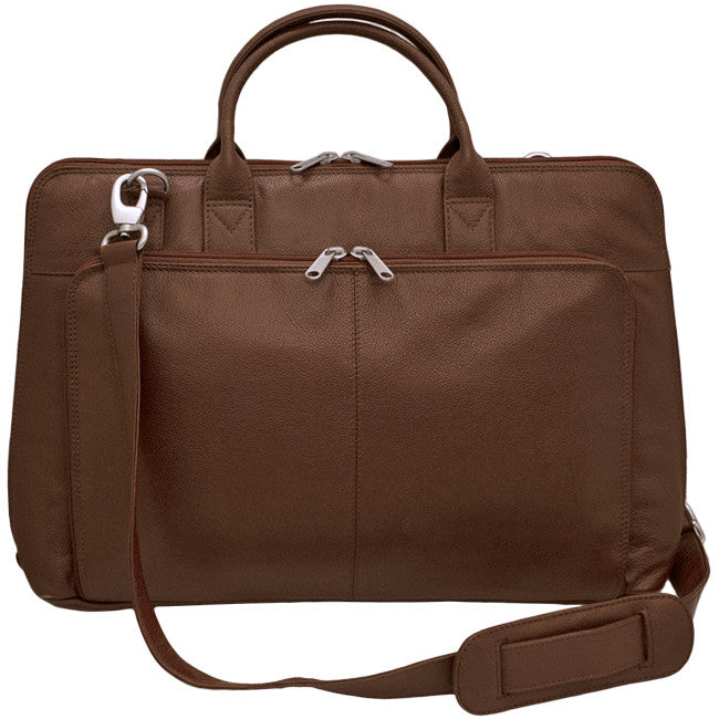 Italia Leather Laptop Briefcase Tote with Strap