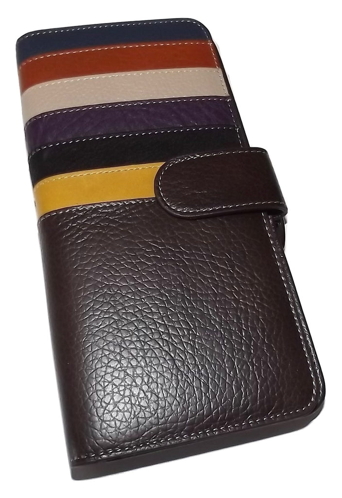 Italia Leather Clutch Wallet Brown Multi