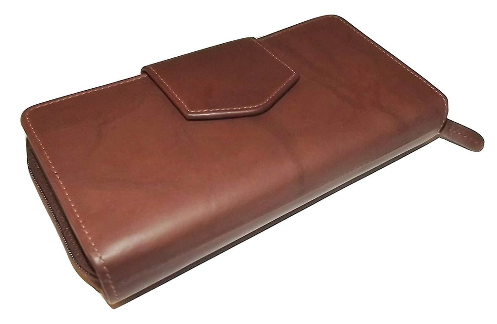 Italia Leather RFID Blocking Checkbook Clutch Wallet Toffee