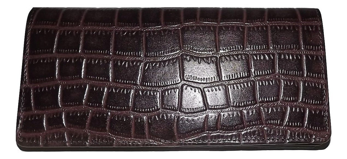 Italia Leather Croc-Embossed Clutch Wallet Brown