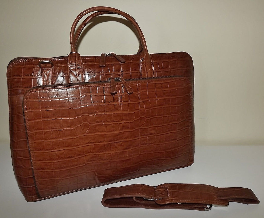 Italia Leather Croc Embossed Laptop Briefcase Tote with Strap