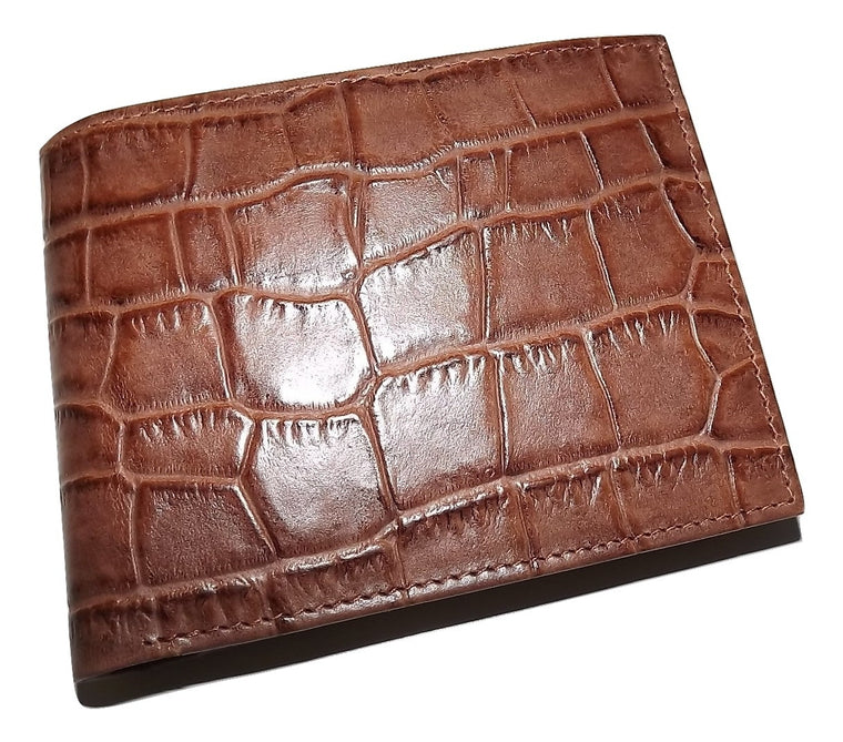 Italia Leather Men's Croc Embossed Passcase Wallet with Change Pocket