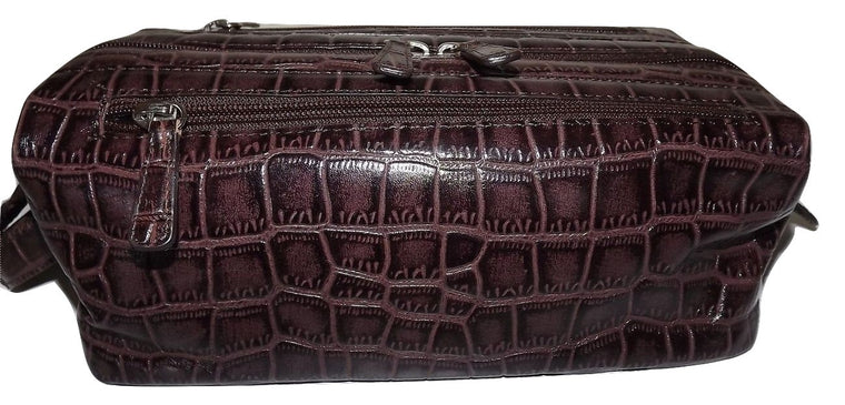 Italia Leather Croc Embossed Framed Toiletry Travel Shave Kit
