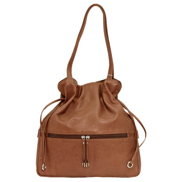 Italia Leather Slim Drawstring Hobo Tote Antique Saddle