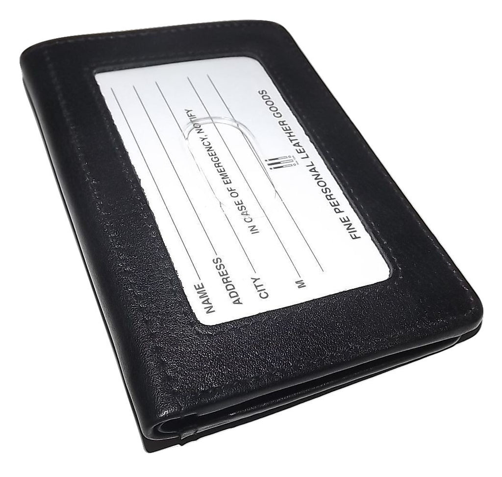 Italia Leather Men's Slim RFID Protected Front Pocket Card Case ID Wallet