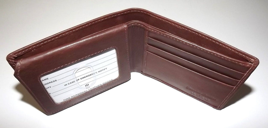 Italia Leather Men's RFID Protected Bifold Passcase ID Wallet