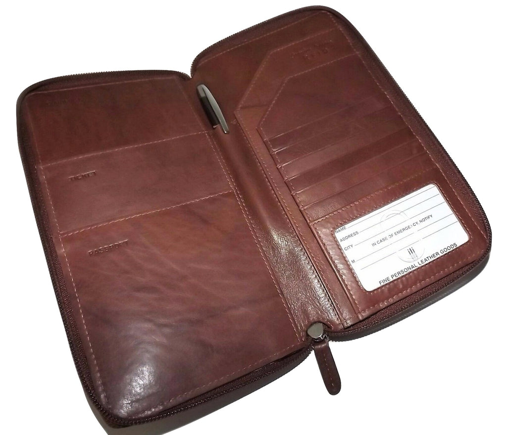 Italia Leather Passport Travel Wallet Toffee