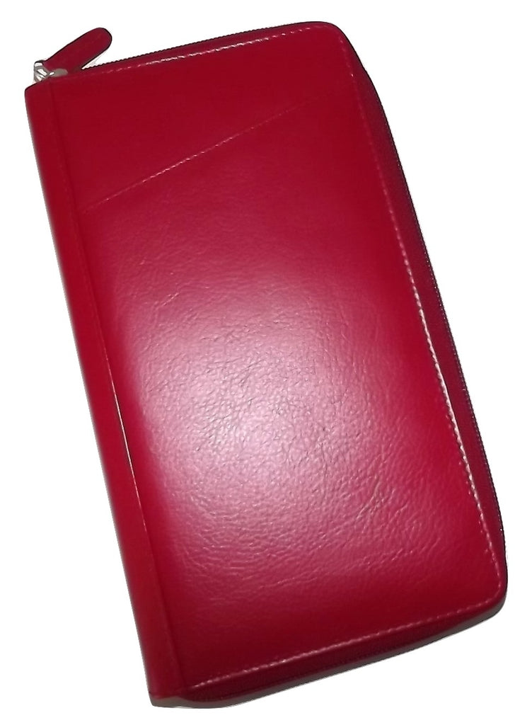 Italia Leather Passport Travel Wallet Red