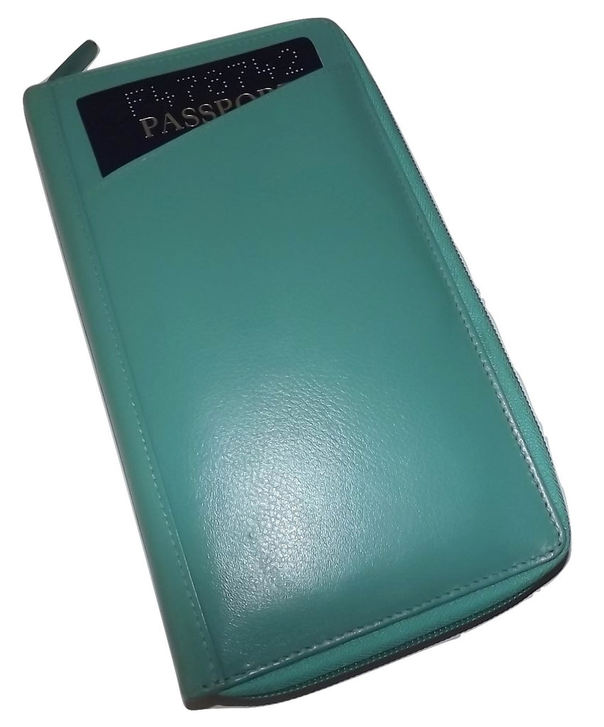 Italia Leather Passport Travel Wallet Turquoise