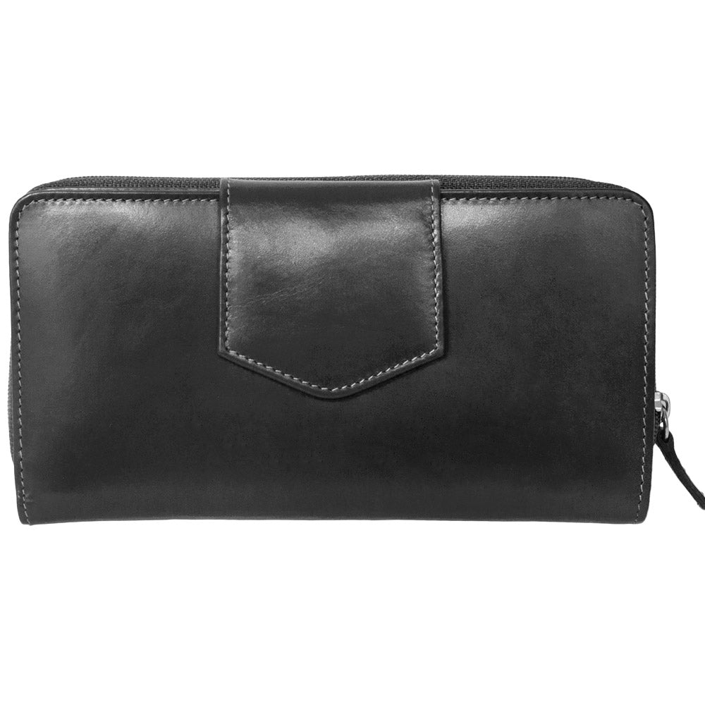 Italia Leather RFID Blocking Checkbook Clutch Wallet Black
