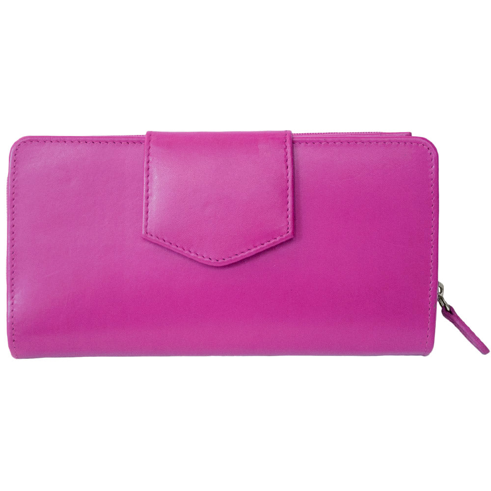 Italia Leather RFID Blocking Checkbook Clutch Wallet Pink