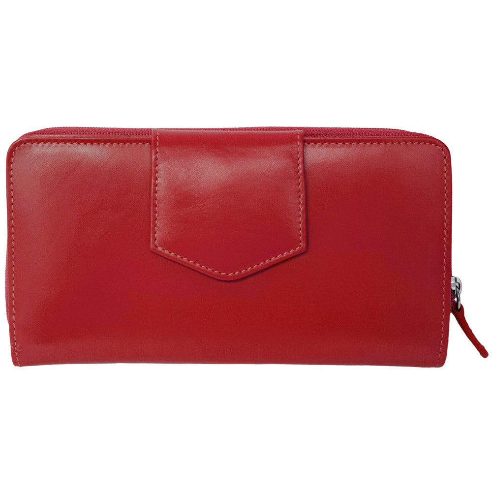 Italia Leather RFID Blocking Checkbook Clutch Wallet Red