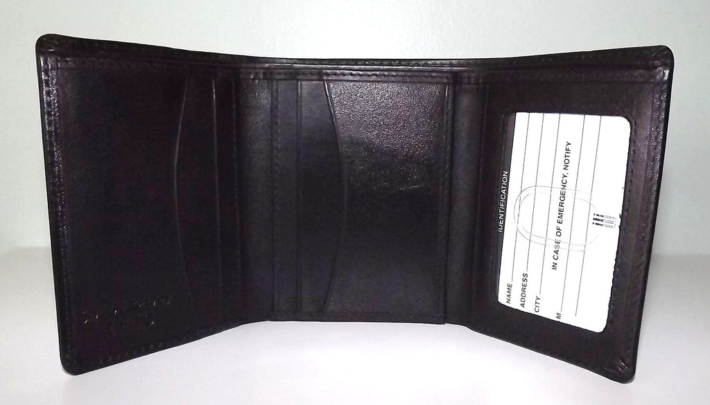 Italia Leather Men's RFID Protected Trifold Credit Card ID Wallet