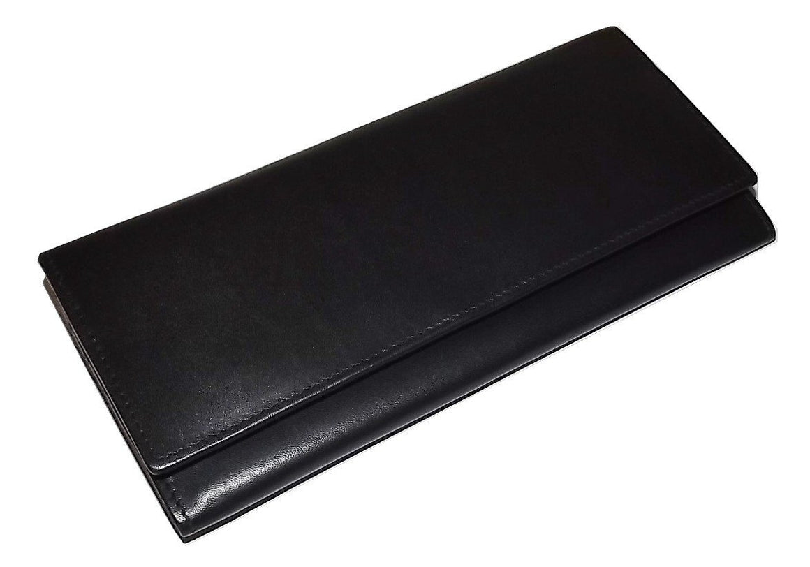 Italia Leather Slim RFID Protected Clutch Wallet Black