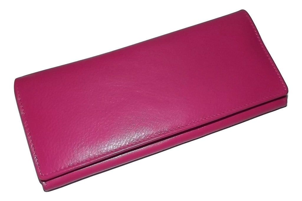 Italia Leather Slim RFID Protected Clutch Wallet Hot Pink