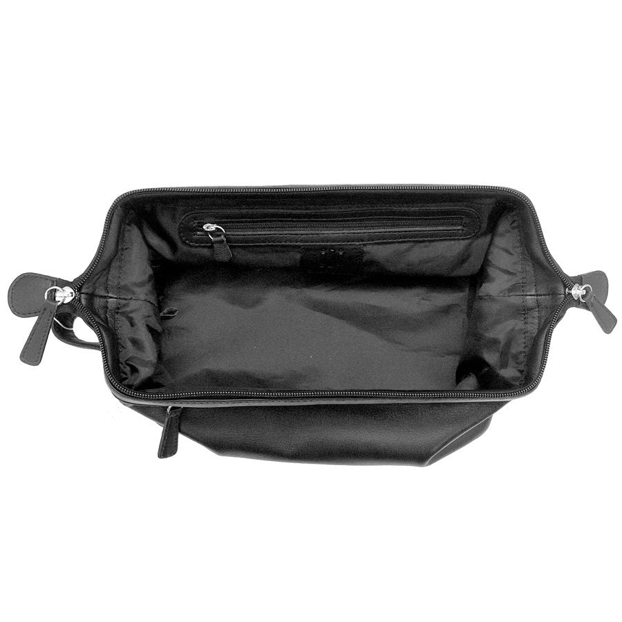 Italia Leather Top Zip Toiletry Shave Kit Black
