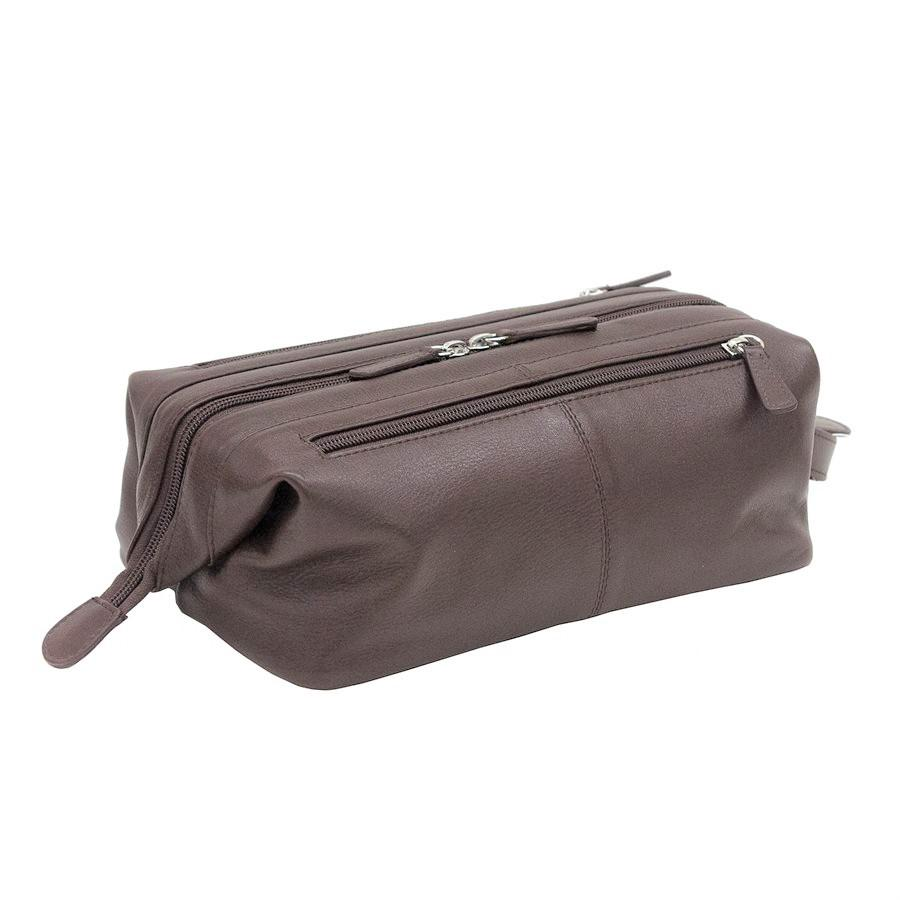 Italia Leather Top Zip Toiletry Shave Kit Brown