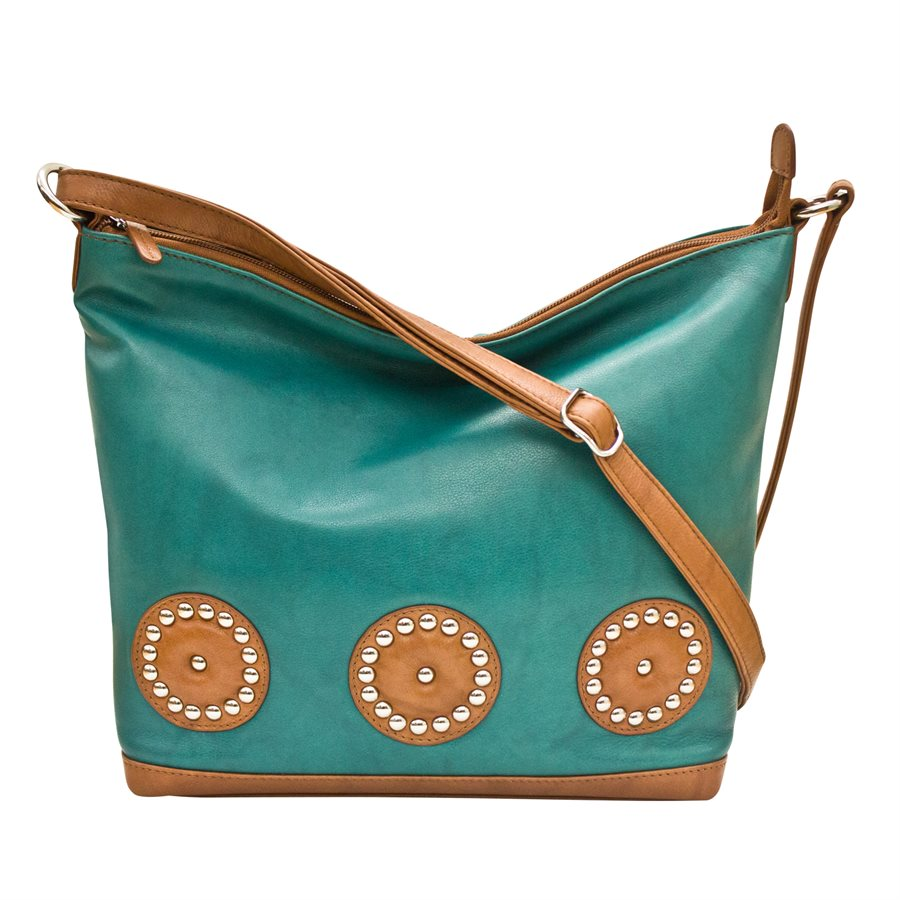Italia Leather Hobo Tote Shoulder Bag Aqua/Saddle