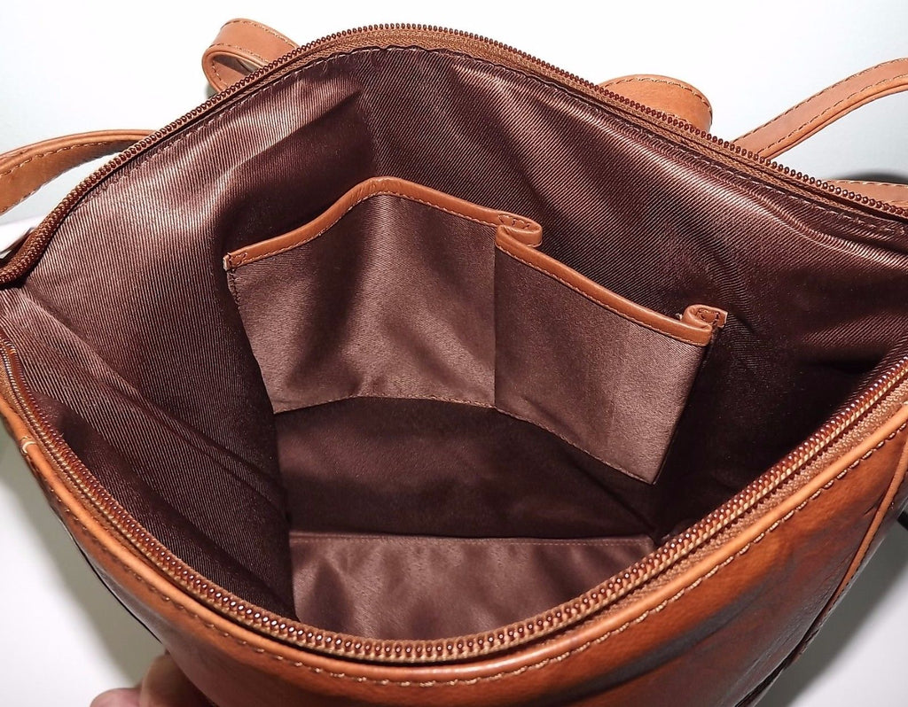 Italia Leather Hobo Tote Shoulder Bag Walnut/Saddle