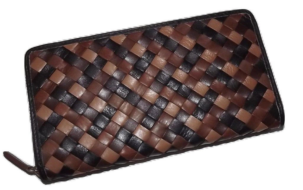Italia Leather Woven Clutch Wallet Brown Multi