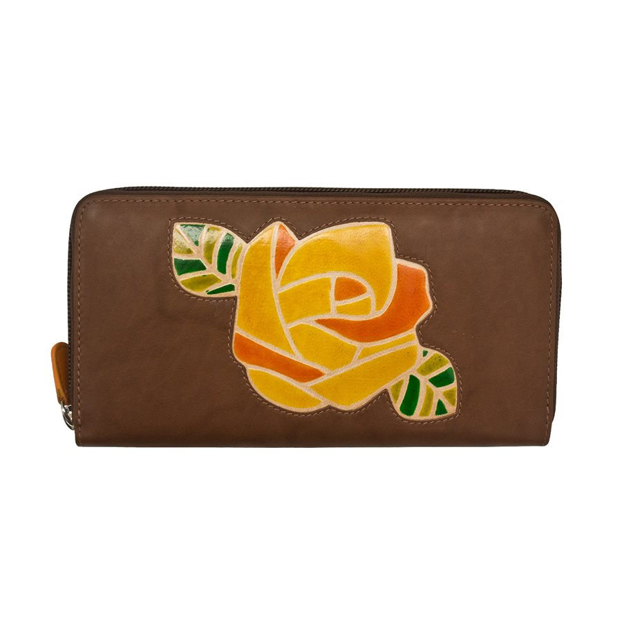 Italia Leather Zip Around RFID Clutch Wallet Rose Toffee