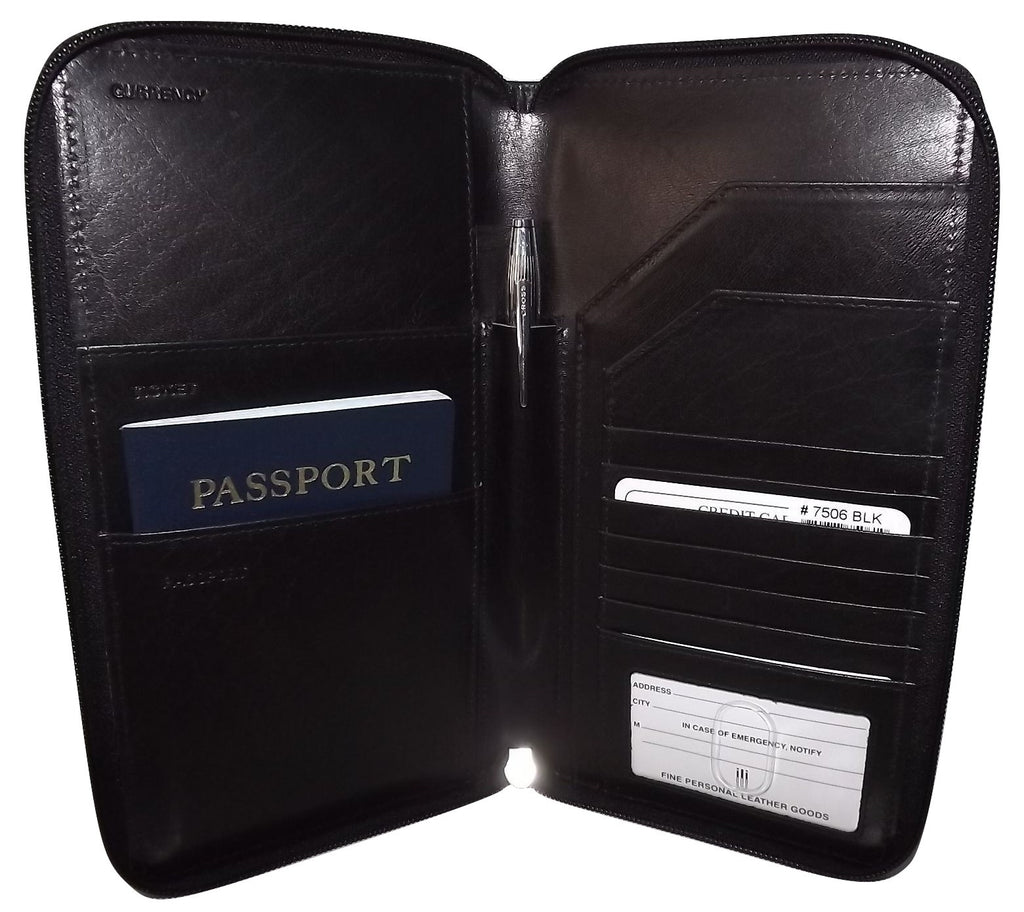 Italia Leather Passport Travel Wallet Black