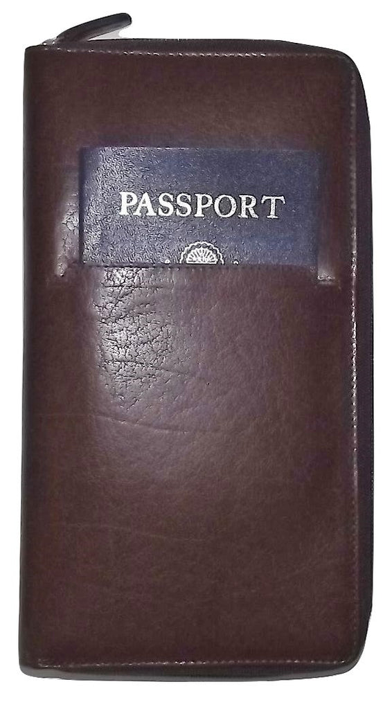 Italia Leather Passport Travel Wallet Brown
