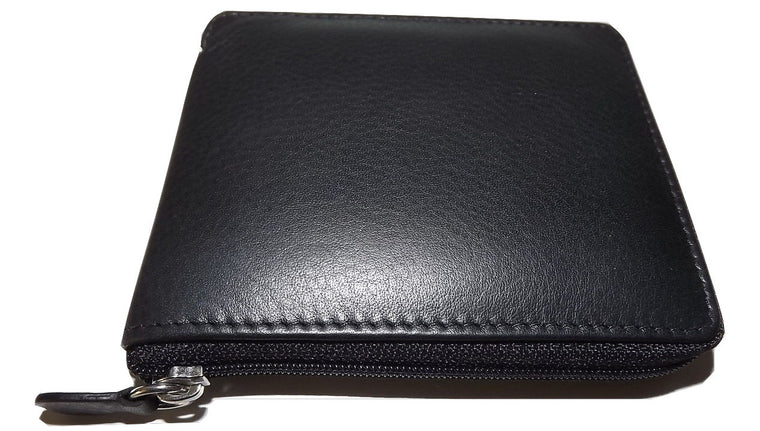 Italia Leather Men's Zip Around Credit Card ID Wallet with Change Pocket