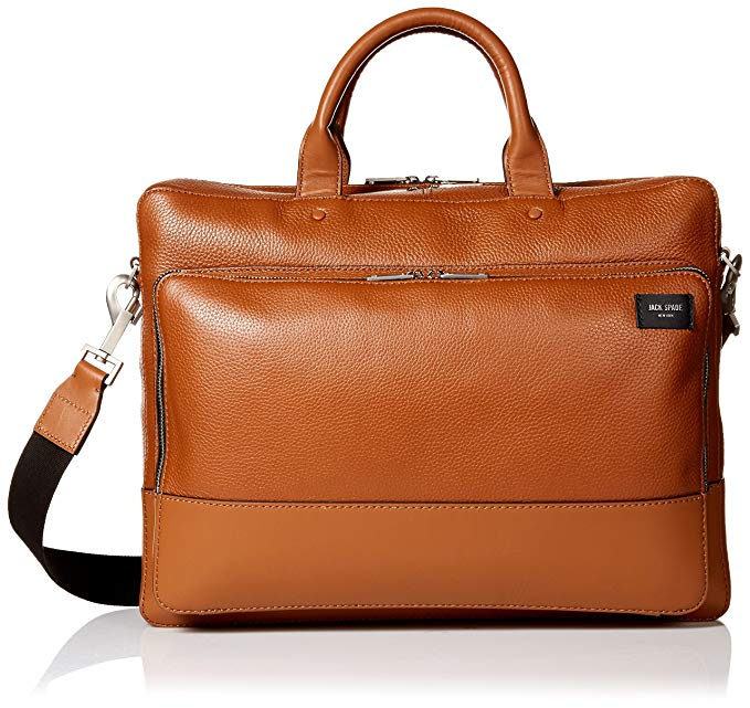Jack Spade Pebbled Leather Commuter Briefcase Tan